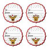 Reindeers in Santa Claus hats Christmas with vintage frame and gift text in English winter holidays sticker set  isolated on white background — Vecteur