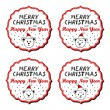 Polar bears in Santa Claus hats Christmas with vintage frame and Christmas wishes in English winter holidays sticker set isolated on white background — Stock Vector #56218017