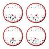 Polar bears in Santa Claus hats Christmas with vintage frame blank winter holidays sticker set isolated on white background — Stock Vector