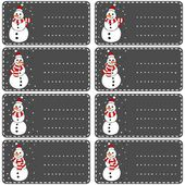 Snowmen in Santa Claus hats and scarfs Christmas winter holidays white gift label sticker set isolated on dark background — Stock Vector
