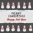 Snowmen in Santa Claus hats Christmas winter holidays horizontal card with torn paper and Christmas wishes in English on dark background — Stock Vector #57959229