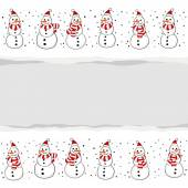 Snowmen in Santa Claus hats Christmas winter holidays horizontal card with torn paper on white background — Stockvector