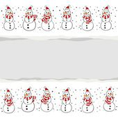 Snowmen in Santa Claus hats Christmas winter holidays horizontal card with torn paper on white background — Stock Vector