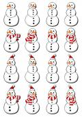 Snowmen, snowmen in Santa Claus hats, with scarfs  and in hats and scarfs Christmas winter holidays set isolated on white background — Cтоковый вектор