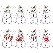 Snowmen in Santa Claus hats and with scarfs and in hats Christmas winter holidays seamless horizontal border set isolated on white background — Stock Vector