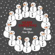 Happy snowmen wreath Christmas winter holiday card illustration with wishes in English on dark background — Stock Vector #58563391