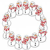 Happy snowmen with stripped scarfs wreath Christmas winter holiday card illustration on white background — Stock Vector