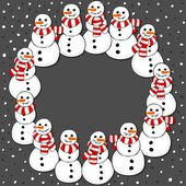 Happy snowmen with stripped scarfs wreath Christmas winter holiday card illustration on dark background — Stock Vector