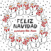Happy snowmen with stripped scarfs wreath Christmas winter holiday card illustration with Merry Christmas wishes in Spanish on white background — Stock Vector