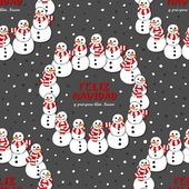 Happy snowmen with stripped scarfs wreath Christmas winter holiday seamless pattern with Merry Christmas wishes in Spanish on dark background — Stock Vector