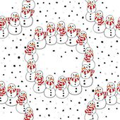 Happy snowmen with stripped scarfs wreath Christmas winter holiday seamless pattern on white background — Stock Vector