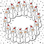 Happy snowmen in Santa Claus hats wreath Christmas winter holiday card illustration on white background — Stock Vector