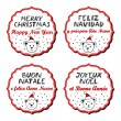 Polar bears in Santa Claus hats Christmas with vintage frame and Christmas wishes in English French Spanish Italian winter holidays sticker set isolated on white background — Stock Vector #65206489