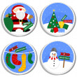 Colorful winter holiday round shaped illustration set with Santa Claus Christmas tree gift socks and happy snowman with Merry Christmas wishes in English isolated on white background — Stock Vector #65207301