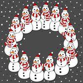 Snowmen in Santa Claus hats wreath Christmas winter holidays card illustration on dark background — Stock Vector