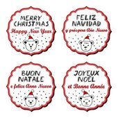 Polar bears in Santa Claus hats Christmas with vintage frame and Christmas wishes in English French Spanish Italian winter holidays sticker set isolated on white background — Stock Vector
