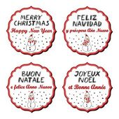 Snowmen in Santa Claus hats Christmas with vintage frame and Christmas wishes in English French Spanish Italian winter holidays sticker set isolated on white background — Stock Vector