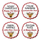 Reindeer in Santa Claus hats Christmas with vintage frame and Christmas wishes in English French Spanish Italian winter holidays sticker set isolated on white background — Stock Vector