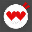 Xoxo red hearts in love lovely sewed romantic Valentines Day card on gray background — Stock Vector #65239149