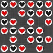 Big red gray lonely heart badges lovely sewed romantic Valentines Day seamless pattern on gray background — Vecteur