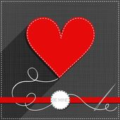 Red heart sewed romantic Valentines Day card on gray background with red ribbon and be mine badge — Stock Vector