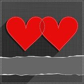 Two hearts in love lovely sewed romantic Valentines Day card on gray background with torn paper with place for your text — Stock Vector