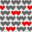 Red and gray hearts lovely Valentine's day seamless pattern on light gray patterned background — Stock Vector #65316443