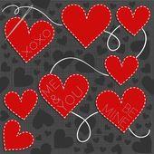 Прекрасные шили романтический день Святого Валентина бесшовный паттерн с вышитым текстом на сером фоне — Cтоковый вектор