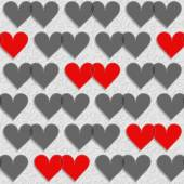 Red and gray hearts lovely Valentine's day seamless pattern on light gray patterned background — Stock Vector