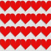 Red hearts lovely Valentine's day seamless pattern on light gray patterned background — Stock Vector