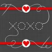 Rode harten met lint — Stockvector