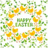 Little yellow chickens with green leaves Easter spring holidays decorative wreath with wishes in English — Stock Vector
