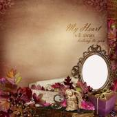 Frame in the Victorian style with retro decorations on vintage background — Stock Photo
