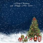 Christmas greeting background with Christmas tree and gifts — Stock Photo