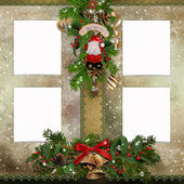 Christmas greeting card with frames for photos — Стоковое фото