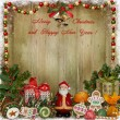 Christmas greeting background with Santa, gifts and candies — Stock Photo #57033161