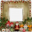 Christmas greeting card with Santa, gifts and candies — Stock Photo #57033203