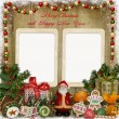 Christmas greeting card with frame, Santa, gifts and candies — Stock Photo #57033237