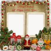 Christmas greeting card with frame, Santa, gifts and candies — Stock Photo