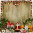 Christmas greeting background with Santa, gifts and candies — Stock Photo #57317565