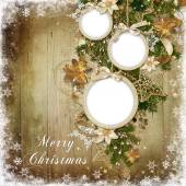 Christmas decorations, balls-frame on a wooden background — Stock Photo