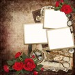 Frames with retro decoration and red roses on vintage background — Stockfoto #64985983