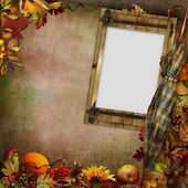 Background with frame, autumn leaves and umbrella — Stock Photo