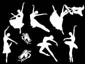 Vector Set of ballet dancers silhouettes — Stock Vector