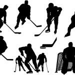 Ice hockey silhouettes set — Stock Vector #65027671