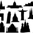 Landmarks silhouette set. Vector illustration. — Cтоковый вектор #65028671