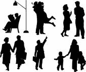 Vector silhouettes of Family — Stock Vector