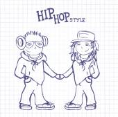 Hip hop boy and girl holding hands, vector illustration — Cтоковый вектор