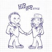 Hip hop boy and girl holding hands, vector  illustration — 图库矢量图片