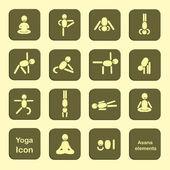 Set of icons. Poses yoga asanas. Vector — Stock Vector